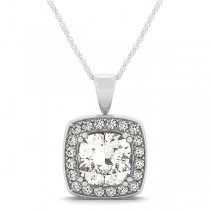 Diamond Halo Cushion Pendant Necklace 14k White Gold (1.48ct)