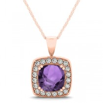 Amethyst & Diamond Halo Cushion Pendant Necklace 14k Rose Gold (1.65ct)