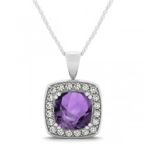 Amethyst & Diamond Halo Cushion Pendant Necklace 14k White Gold (1.65ct)