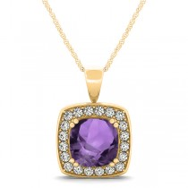 Amethyst & Diamond Halo Cushion Pendant Necklace 14k Yellow Gold (1.65ct)