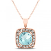 Aquamarine & Diamond Halo Cushion Pendant Necklace 14k Rose Gold (1.46ct)