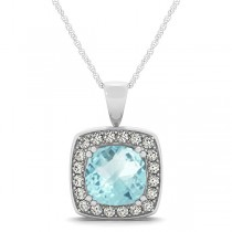 Aquamarine & Diamond Halo Cushion Pendant Necklace 14k White Gold (1.46ct)