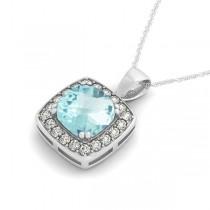 Aquamarine & Diamond Halo Cushion Pendant Necklace 14k White Gold (1.46ct)
