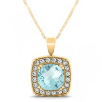 Aquamarine & Diamond Halo Cushion Pendant Necklace 14k Yellow Gold (1.46ct)