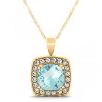 Aquamarine & Diamond Halo Cushion Pendant Necklace 14k Yellow Gold (1.46ct)