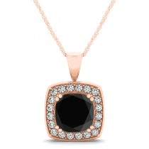 Black Diamond & Diamond Halo Cushion Pendant Necklace 14k Rose Gold (1.48ct)