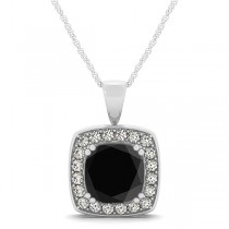 Black Diamond & Diamond Halo Cushion Pendant Necklace 14k White Gold (1.48ct)