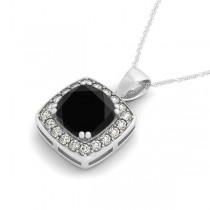 Black Diamond & Diamond Halo Cushion Pendant Necklace 14k White Gold (1.48ct)|escape