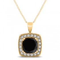 Black Diamond & Diamond Halo Cushion Pendant Necklace 14k Yellow Gold (1.48ct)