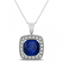 Blue Sapphire & Diamond Halo Cushion Pendant Necklace 14k White Gold (1.93ct)