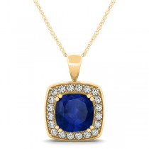 Blue Sapphire & Diamond Halo Cushion Pendant Necklace 14k Yellow Gold (1.93ct)