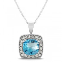 Blue Topaz & Diamond Halo Cushion Pendant Necklace 14k White Gold (1.95ct)