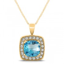 Blue Topaz & Diamond Halo Cushion Pendant Necklace 14k Yellow Gold (1.95ct)
