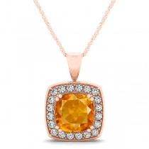 Citrine & Diamond Halo Cushion Pendant Necklace 14k Rose Gold (1.55ct)