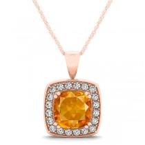 Citrine & Diamond Halo Cushion Pendant Necklace 14k Rose Gold (1.55ct)