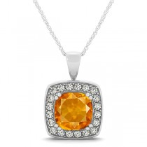 Citrine & Diamond Halo Cushion Pendant Necklace 14k White Gold (1.55ct)