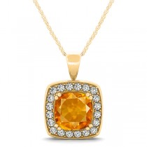 Citrine & Diamond Halo Cushion Pendant Necklace 14k Yellow Gold (1.55ct)