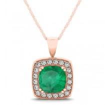 Emerald & Diamond Halo Cushion Pendant Necklace 14k Rose Gold (1.60ct)