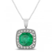 Emerald & Diamond Halo Cushion Pendant Necklace 14k White Gold (1.60ct)