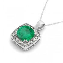 Emerald & Diamond Halo Cushion Pendant Necklace 14k White Gold (1.60ct)