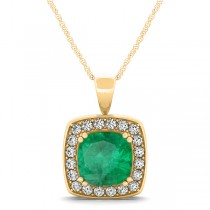 Emerald & Diamond Halo Cushion Pendant Necklace 14k Yellow Gold (1.60ct)