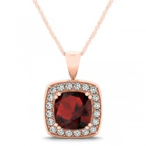 Garnet & Diamond Halo Cushion Pendant Necklace 14k Rose Gold (1.93ct)