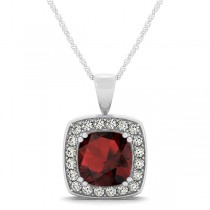 Garnet & Diamond Halo Cushion Pendant Necklace 14k White Gold (1.93ct)