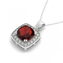 Garnet & Diamond Halo Cushion Pendant Necklace 14k White Gold (1.93ct)