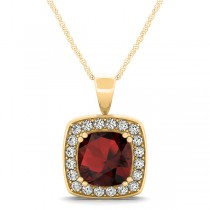 Garnet & Diamond Halo Cushion Pendant Necklace 14k Yellow Gold (1.93ct)