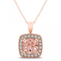 Pink Morganite & Diamond Halo Cushion Pendant Necklace 14k Rose Gold (1.95ct)
