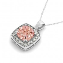 Pink Morganite & Diamond Halo Cushion Pendant Necklace 14k White Gold (1.95ct)