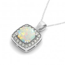 Opal & Diamond Halo Cushion Pendant Necklace 14k White Gold (1.54ct)