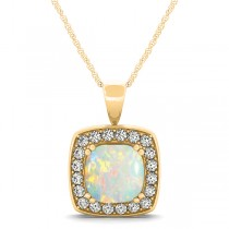 Opal & Diamond Halo Cushion Pendant Necklace 14k Yellow Gold (1.54ct)