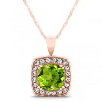 Peridot & Diamond Halo Cushion Pendant Necklace 14k Rose Gold (1.65ct)