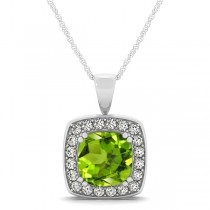 Peridot & Diamond Halo Cushion Pendant Necklace 14k White Gold (1.65ct)