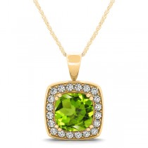 Peridot & Diamond Halo Cushion Pendant Necklace 14k Yellow Gold (1.65ct)
