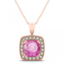Pink Sapphire & Diamond Halo Cushion Pendant Necklace 14k Rose Gold (1.93ct)