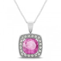 Pink Sapphire & Diamond Halo Cushion Pendant Necklace 14k White Gold (1.93ct)