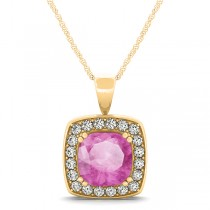 Pink Sapphire & Diamond Halo Cushion Pendant Necklace 14k Yellow Gold (1.93ct)