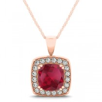 Ruby & Diamond Halo Cushion Pendant Necklace 14k Rose Gold (1.93ct)