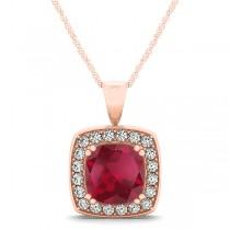 Ruby & Diamond Halo Cushion Pendant Necklace 14k Rose Gold (1.93ct)