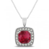 Ruby & Diamond Halo Cushion Pendant Necklace 14k White Gold (1.93ct)