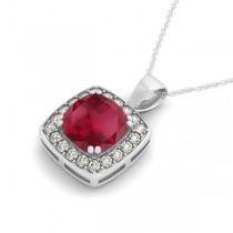 Ruby & Diamond Halo Cushion Pendant Necklace 14k White Gold (1.93ct)