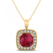 Ruby & Diamond Halo Cushion Pendant Necklace 14k Yellow Gold (1.93ct)