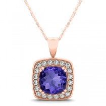 Tanzanite & Diamond Halo Cushion Pendant Necklace 14k Rose Gold (1.93ct)
