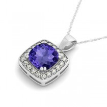 Tanzanite & Diamond Halo Cushion Pendant Necklace 14k White Gold (1.93ct)