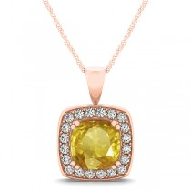 Yellow Sapphire & Diamond Halo Cushion Pendant Necklace 14k Rose Gold (1.93ct)