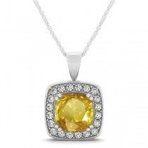 Yellow Sapphire & Diamond Halo Cushion Pendant Necklace 14k White Gold (1.93ct)
