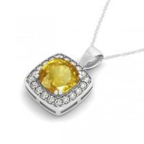 Yellow Sapphire & Diamond Halo Cushion Pendant Necklace 14k White Gold (1.93ct)