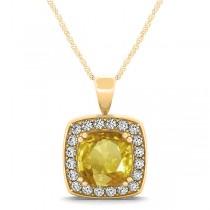 Yellow Sapphire & Diamond Halo Cushion Pendant Necklace 14k Yellow Gold (1.93ct)
